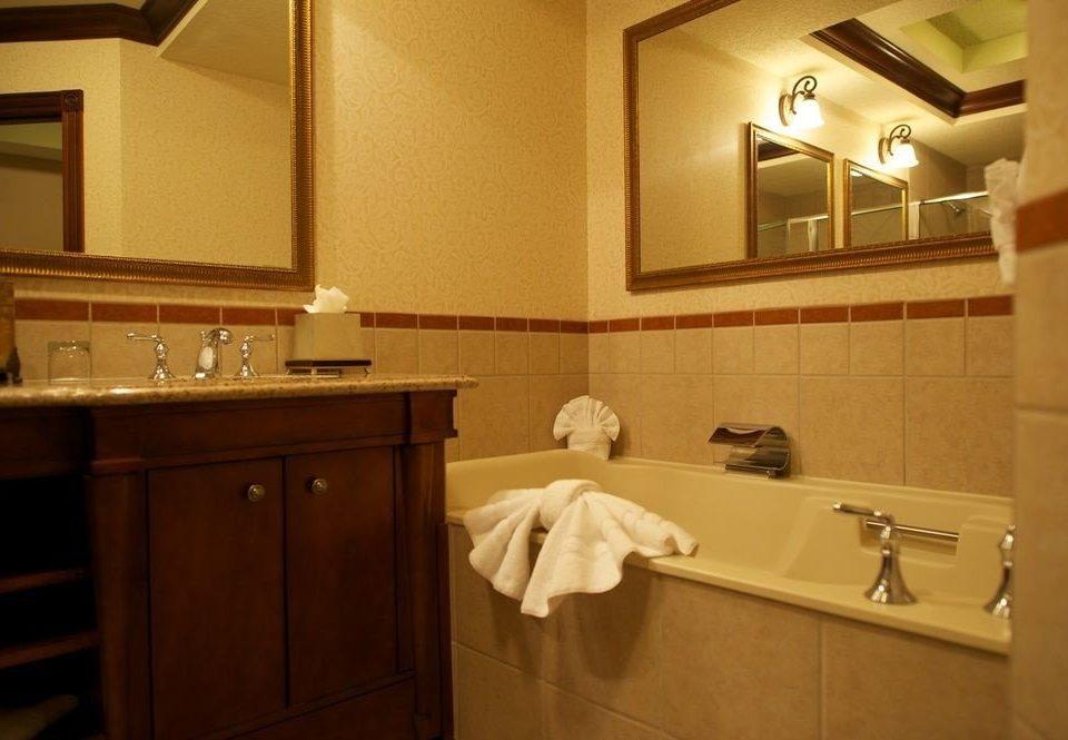 bathroom sink mirror property towel cabinetry home Kitchen countertop vanity cottage rack