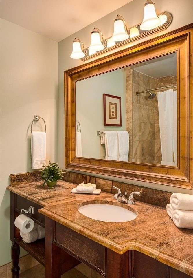 bathroom sink mirror property home countertop cabinetry counter hardwood cuisine classique Kitchen cottage farmhouse vanity living room