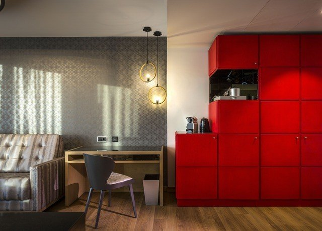 red property flooring living room Kitchen bright