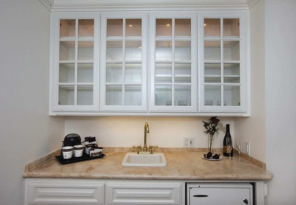 property cabinetry home hardwood countertop sash window molding cottage Kitchen cabinet