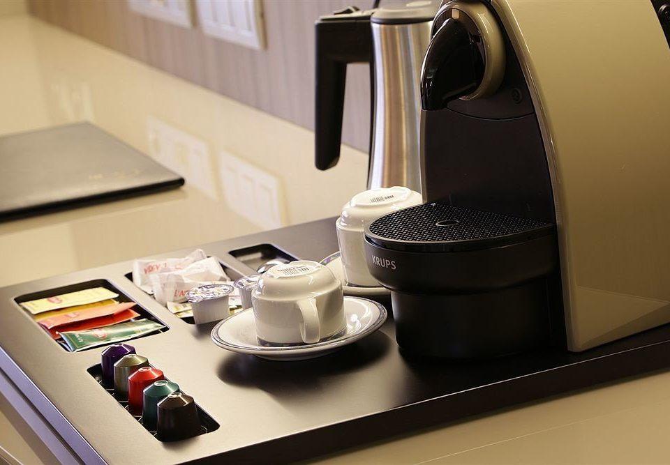 desk Kitchen counter espresso cluttered