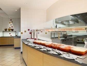 Kitchen property food cuisine counter restaurant loft