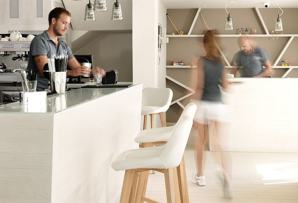 Kitchen human positions sitting home