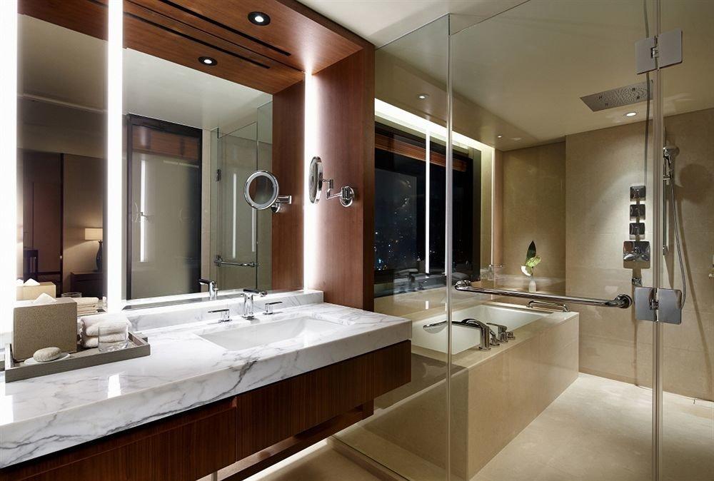 bathroom sink property countertop Kitchen home cabinetry lighting condominium flooring toilet Modern clean