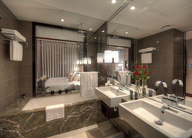 bathroom mirror property sink home condominium Kitchen flooring living room mansion toilet long Modern tile tiled