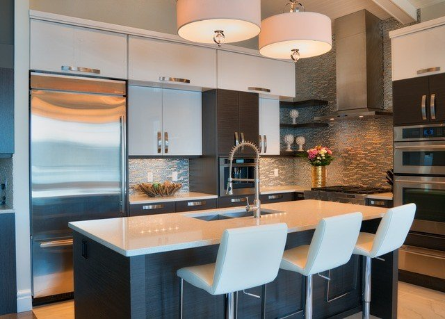 chair property Kitchen home countertop cabinetry lighting living room condominium Modern set