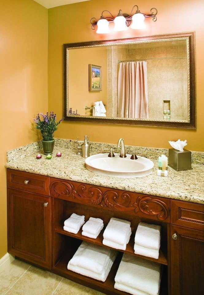 bathroom sink mirror property home countertop vanity cabinetry Suite Kitchen cottage tile