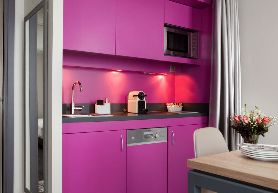 pink purple property Kitchen cabinetry home lighting Suite colored painted kitchen appliance