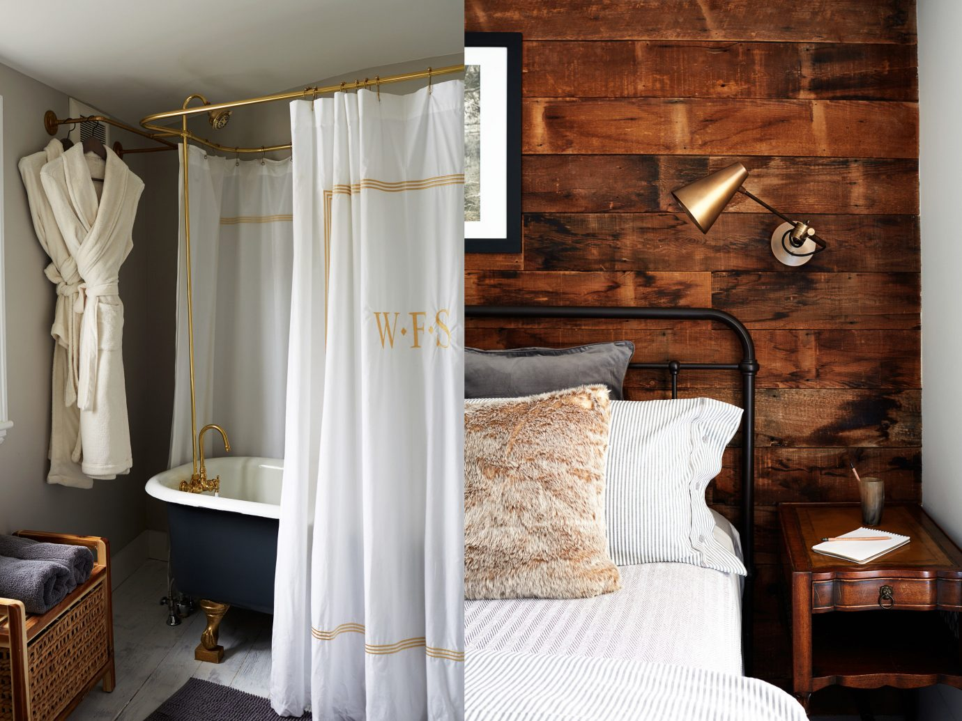 Hotels indoor wall room bed Bedroom interior design curtain furniture floor textile Suite cottage wardrobe