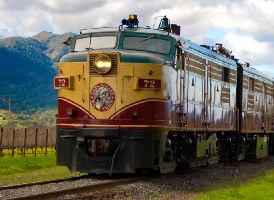 calm Exterior Greenery rail railroad remote serene train transportation Trip Ideas Vineyard sky grass outdoor track transport locomotive vehicle land vehicle rail transport rolling stock mountain railroad car yellow passenger car electric locomotive passenger traveling engine day