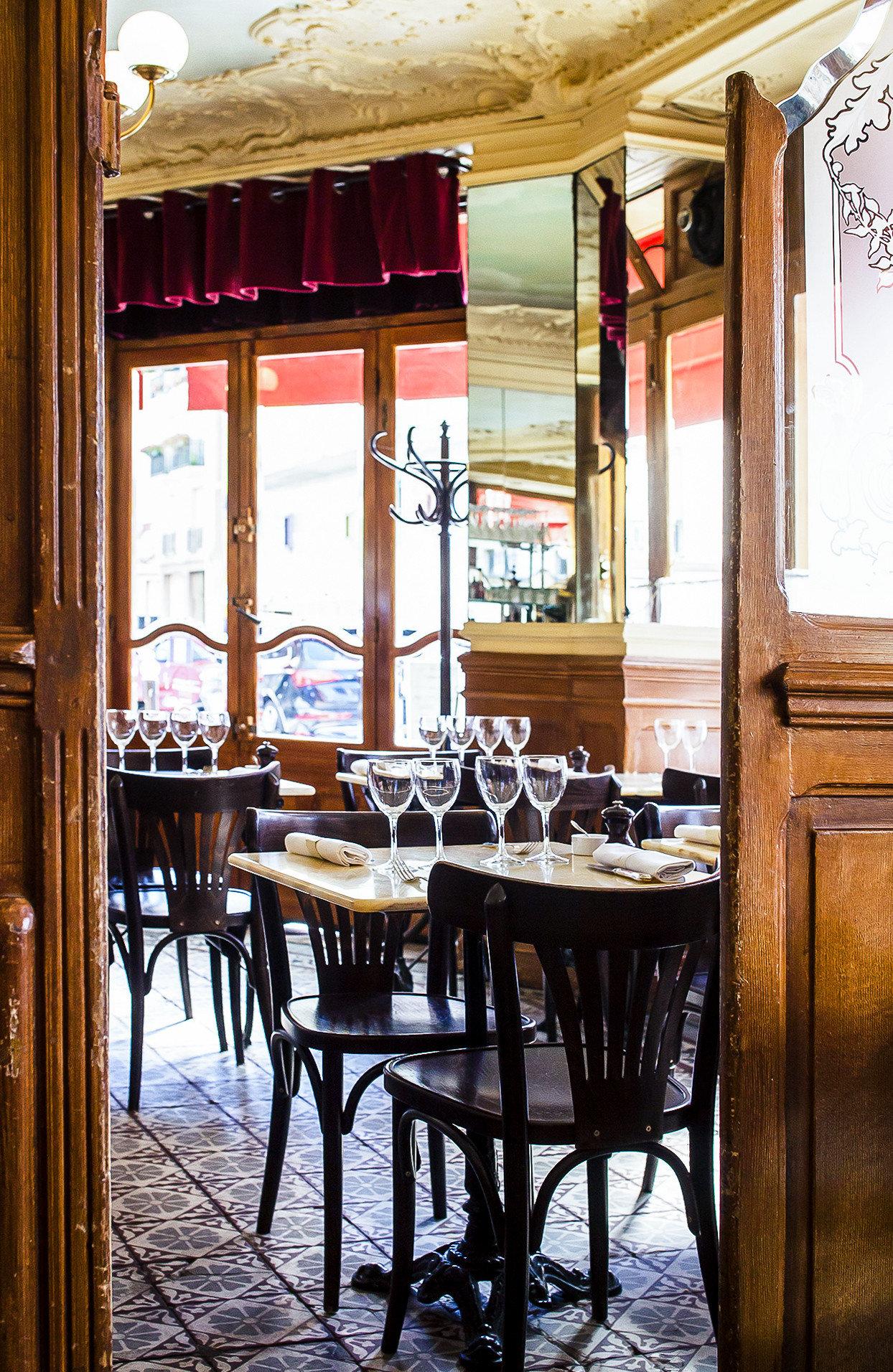 Food + Drink France Paris restaurant table dining room furniture interior design window café chair