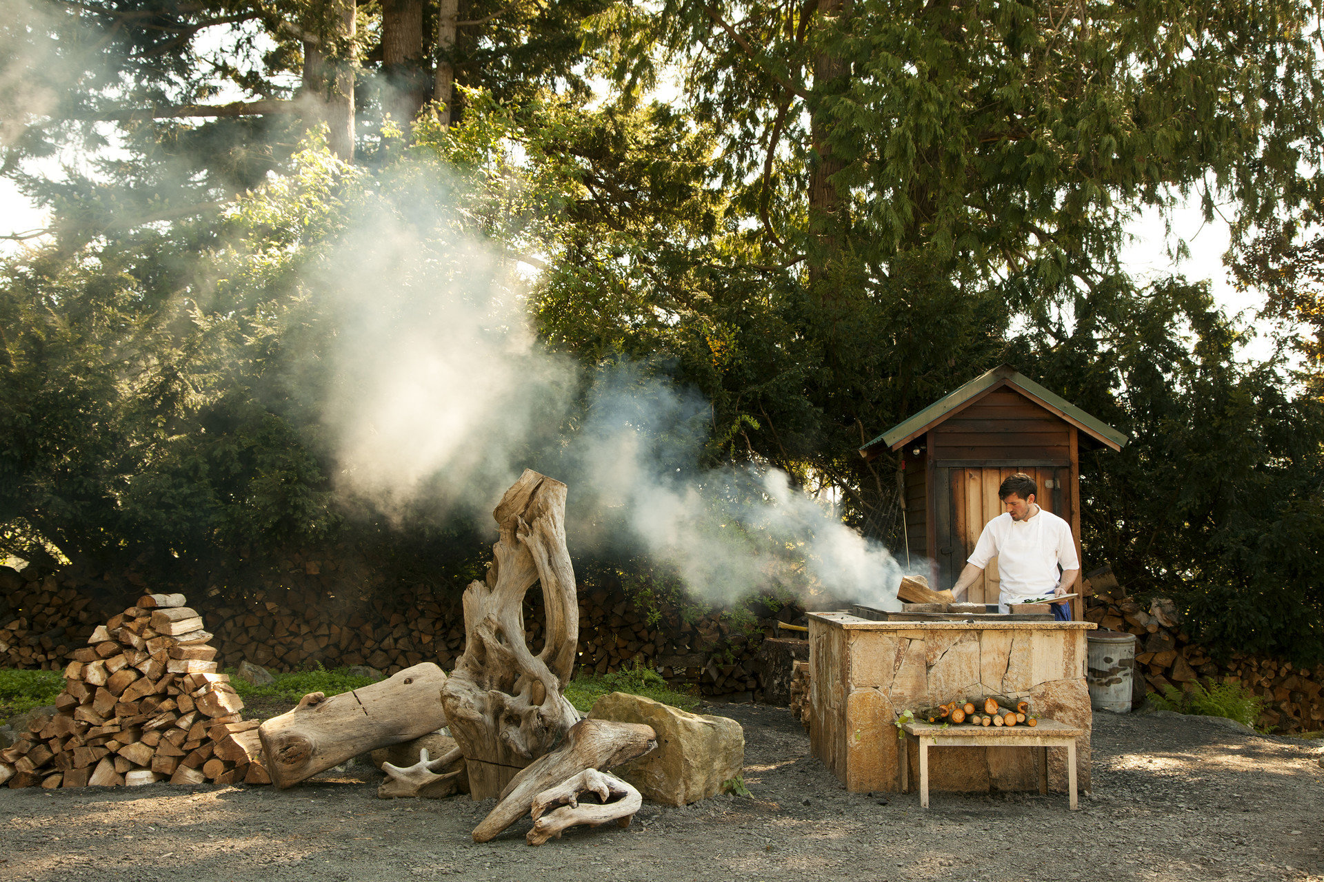 calm chef cooking Food + Drink Forest Garden Greenery grilling Hotels isolation Nature outdoor cooking Outdoors people remote Rustic serene smoke sunlight trees Trip Ideas tree outdoor backyard autumn park wood spring