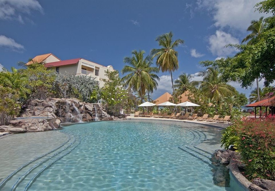 tree water swimming pool property Resort Nature Villa caribbean resort town Lagoon mansion surrounded shore