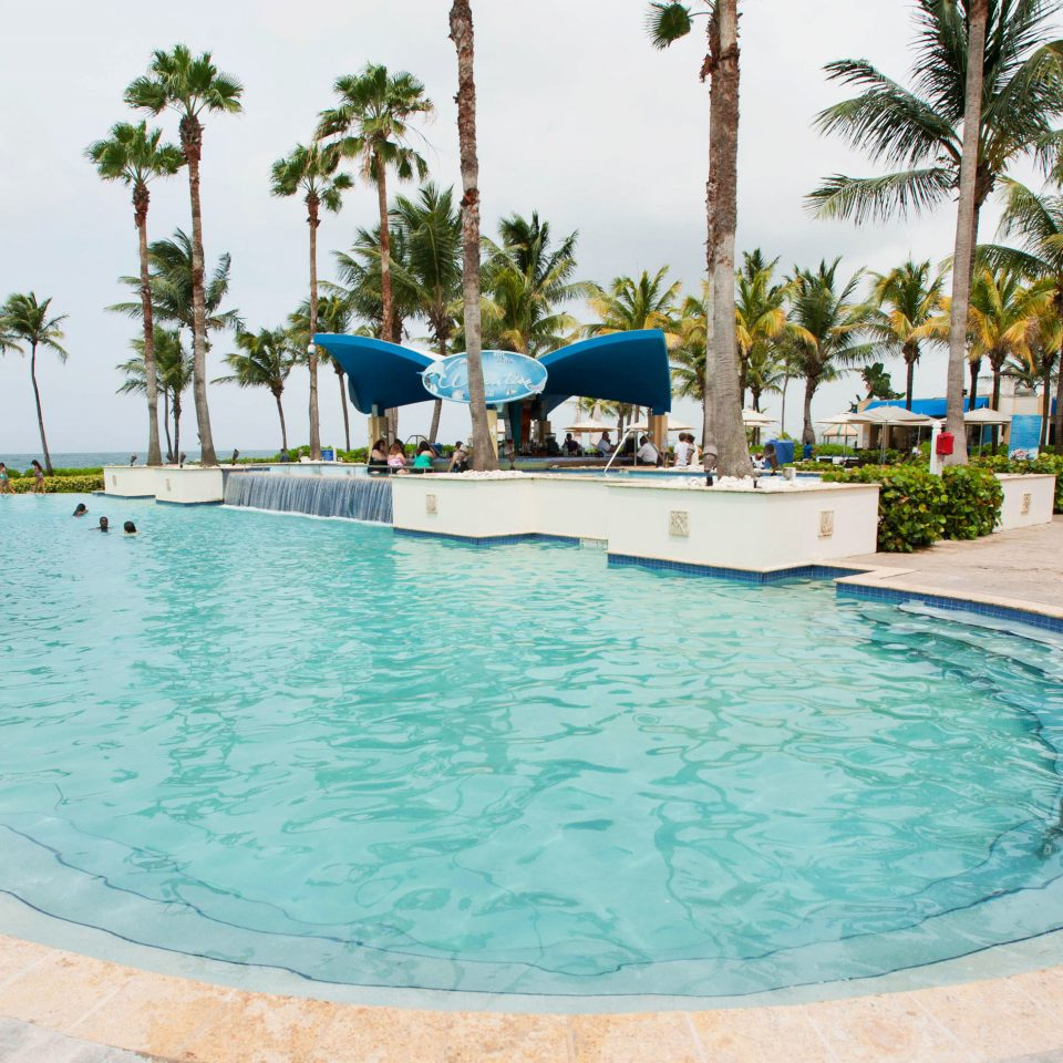 sky tree Pool swimming pool property Resort leisure caribbean Villa resort town palm swimming Lagoon backyard blue