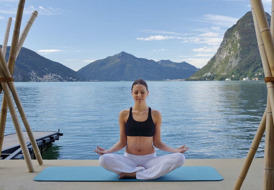water sky mountain leisure sports Lake physical fitness sitting yoga martial arts shore