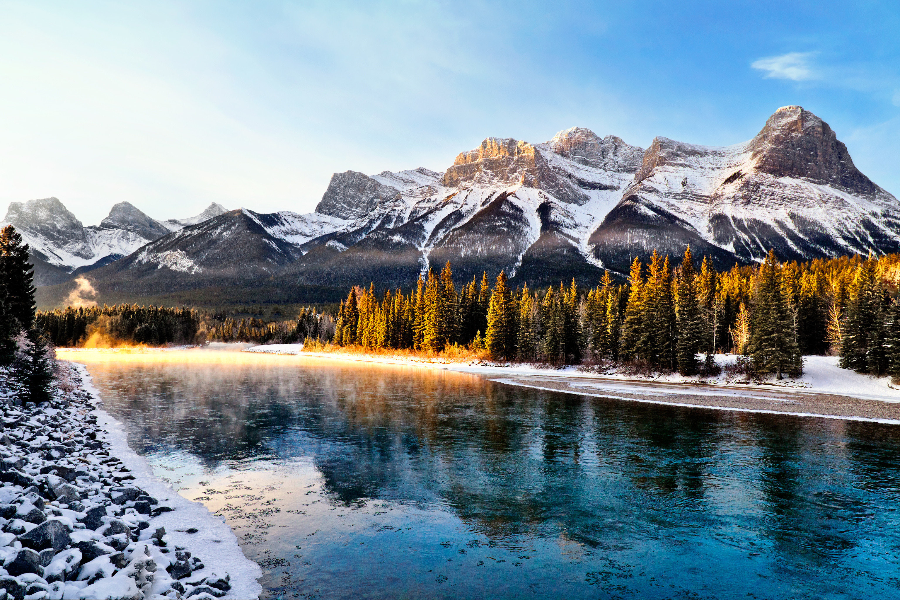 Lake Mountains Natural wonders Nature Outdoors Scenic views sky mountain snow mountainous landforms wilderness mountain range Winter water season morning landscape loch valley alps plateau pond autumn national park ice surrounded rock highland