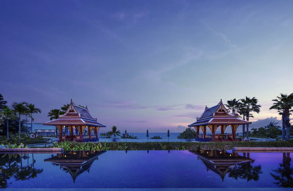 sky water tree house evening Resort dusk Lake palace shore surrounded