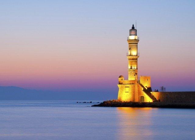 sky water tower landmark lighthouse horizon dusk evening dawn Sea Lake Sunset distance