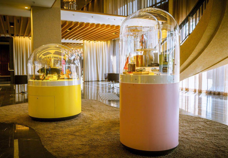 man made object yellow lighting restaurant