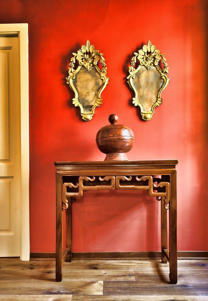 red lighting wooden modern art