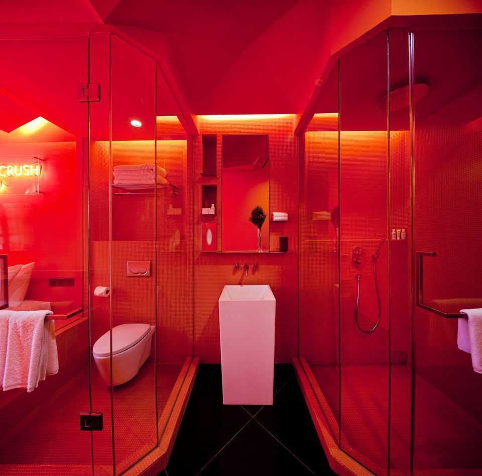 red toilet lighting restaurant