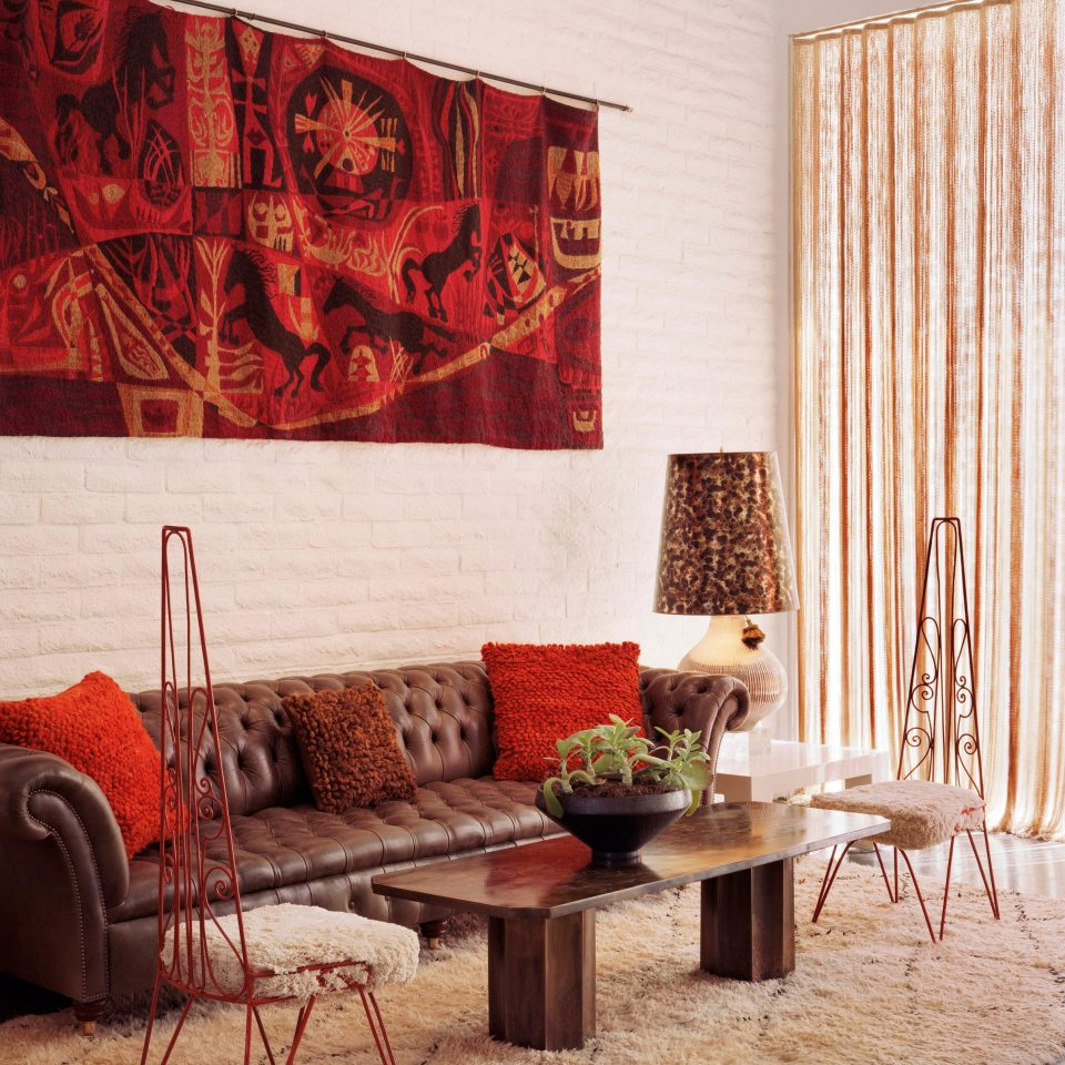 red living room modern art wallpaper