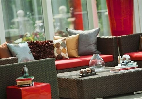 living room red sofa seat