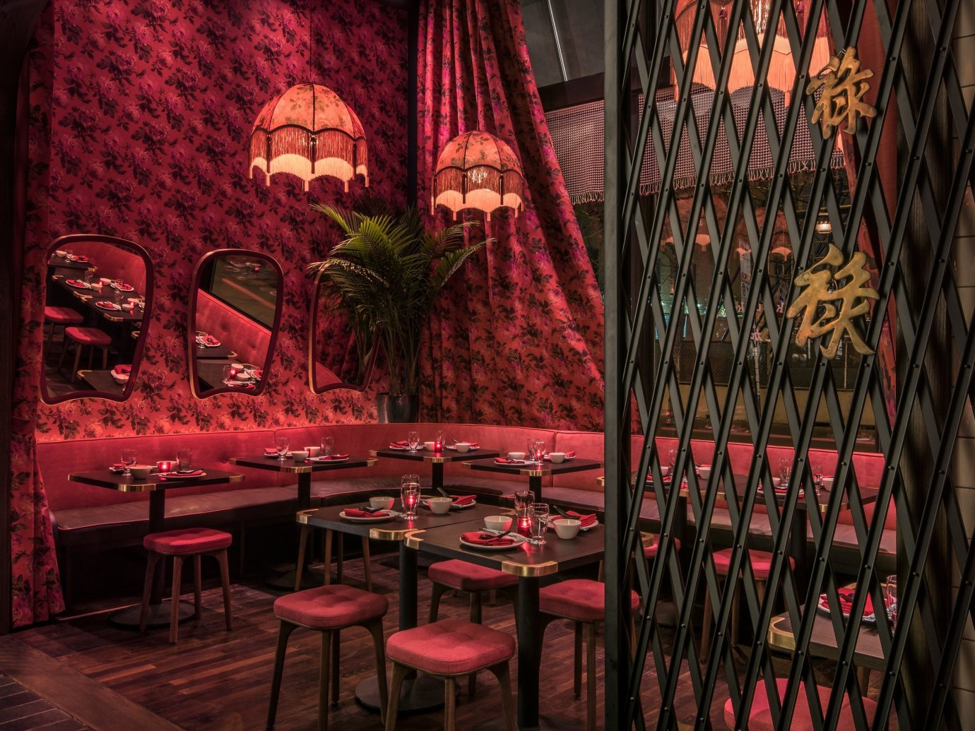 Food + Drink indoor restaurant red Bar interior design