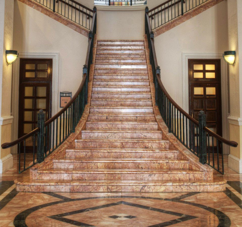 stairs Lobby building aisle hardwood flooring wooden baluster wood flooring mansion hall handrail chapel