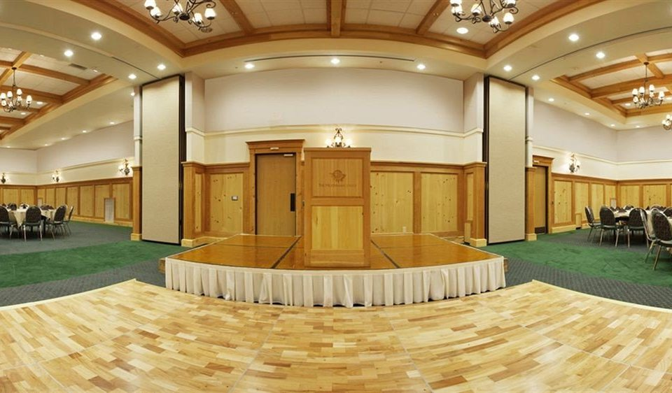 Lobby auditorium conference hall function hall convention center ballroom receptionist flooring hall hard