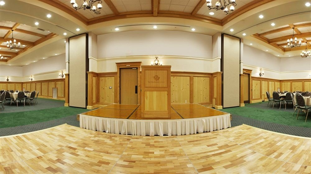 Lobby auditorium conference hall function hall convention center ballroom receptionist flooring hall hard