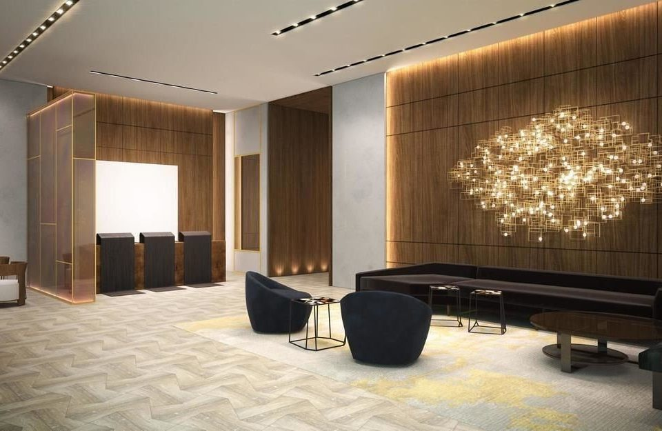 Lobby property conference hall auditorium lighting living room waiting room convention center condominium