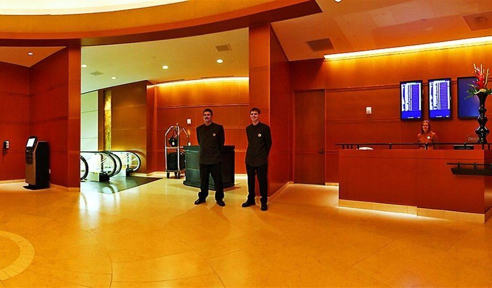 Lobby orange receptionist auditorium conference hall