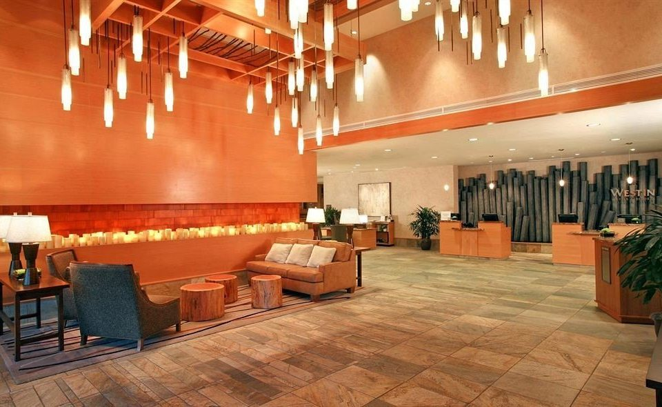 Lobby auditorium restaurant function hall flooring orange