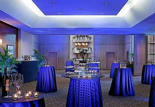 blue function hall purple convention center ballroom banquet Lobby restaurant colorful set colored