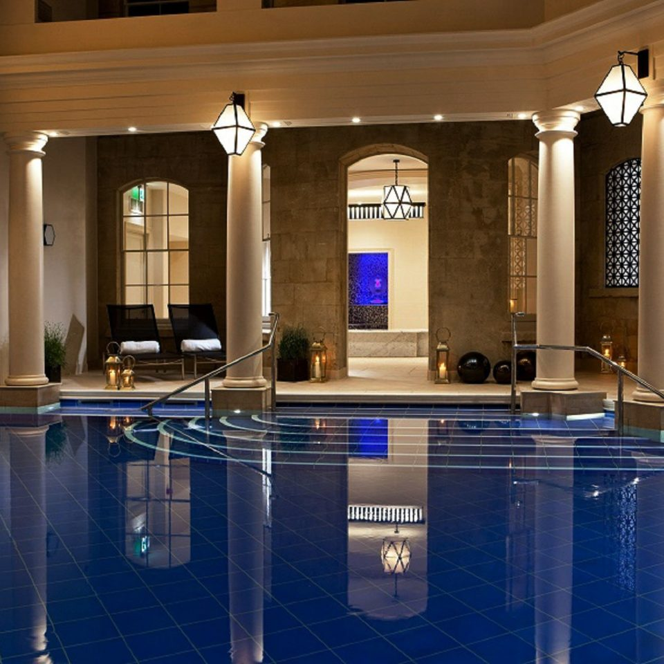 property Lobby swimming pool lighting mansion ballroom blue
