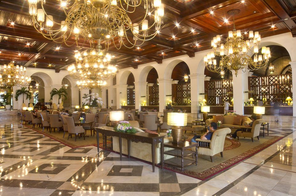 Lobby building plaza function hall palace ballroom restaurant counter long