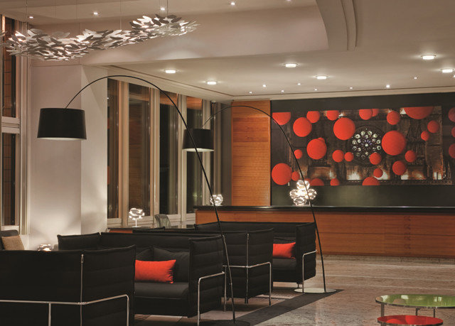 Lobby black lighting living room cabinetry function hall conference hall
