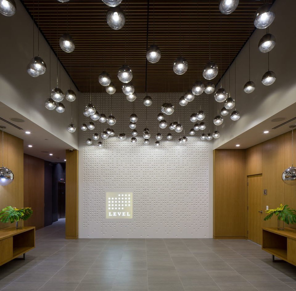 Lobby yellow lighting daylighting hall bright colored
