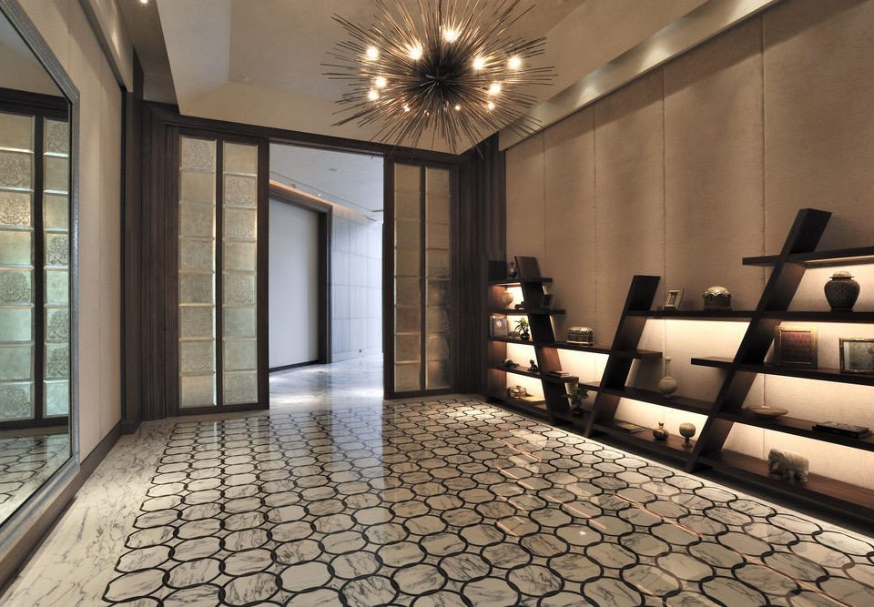 Lobby property building flooring home living room lighting mansion hall condominium tiled