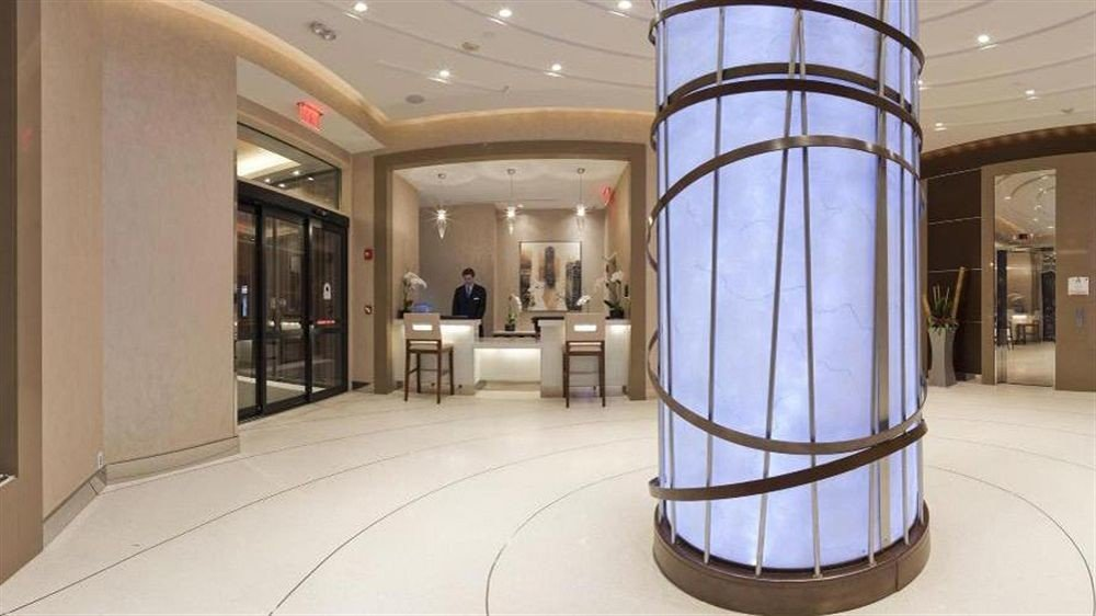 Lobby building lighting hall counter tourist attraction tiled