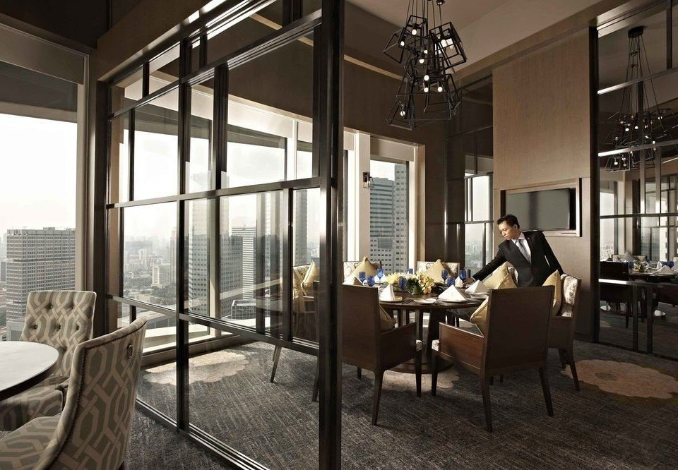 chair property Lobby lighting restaurant overlooking living room condominium loft dining table