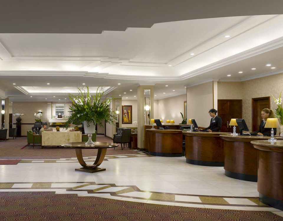 Lobby property condominium function hall convention center conference hall