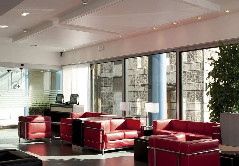 red Lobby living room office conference hall waiting room condominium leather
