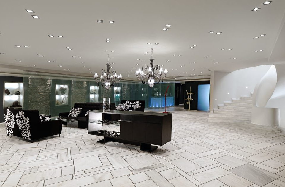 Lobby property living room lighting home flooring condominium mansion tile tiled