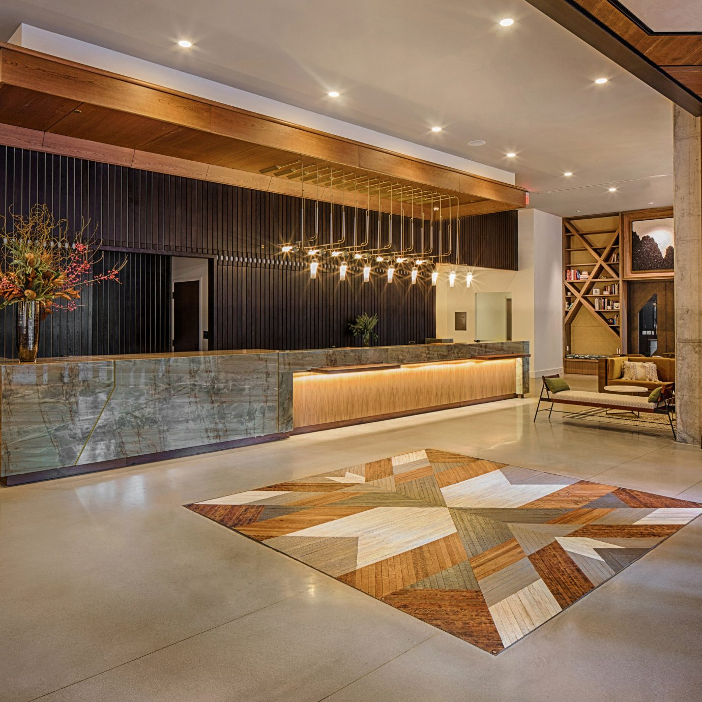 Lobby property flooring hardwood home wood flooring living room mansion
