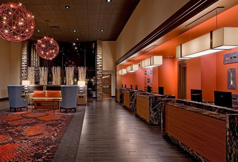 Lounge Luxury Modern red orange Lobby restaurant auditorium hall