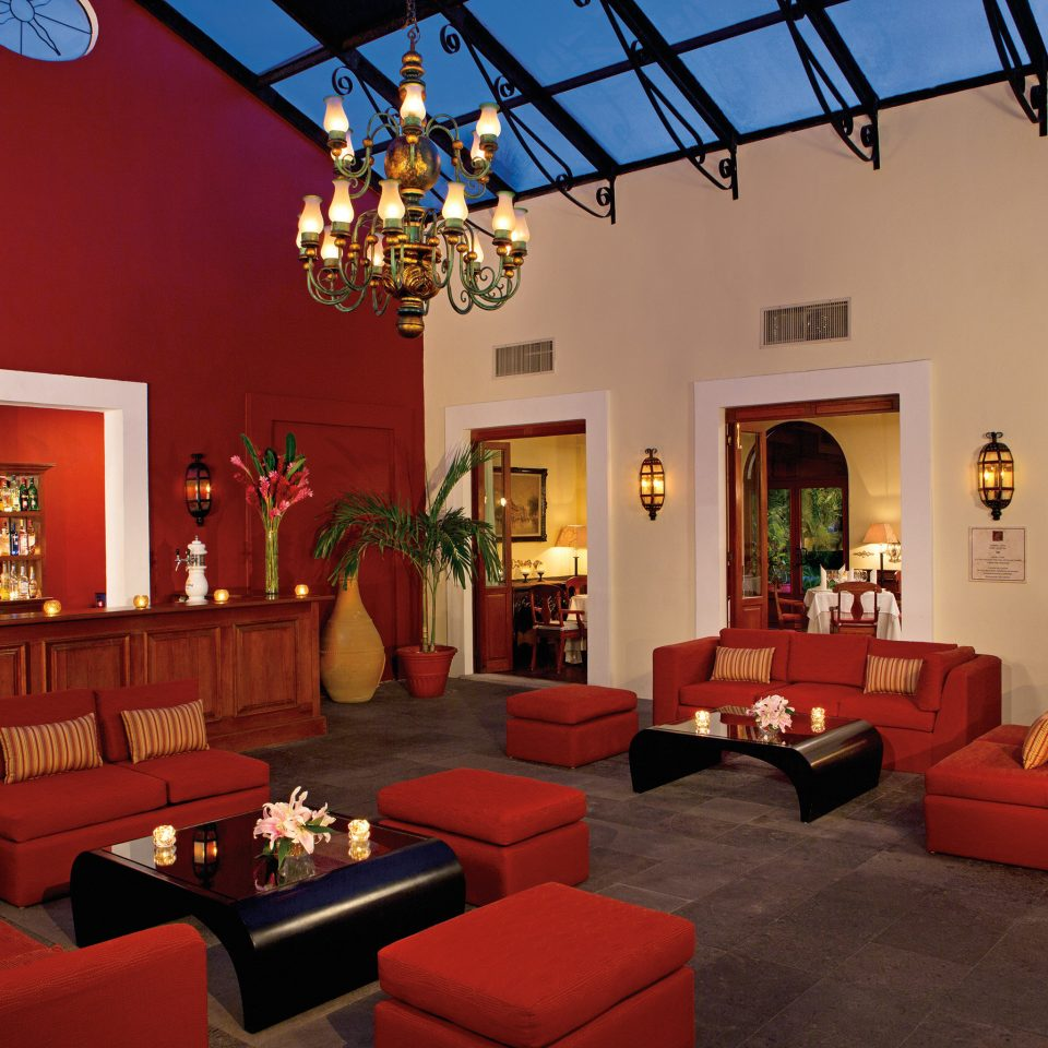 Lounge Luxury sofa orange red restaurant living room Lobby Resort hacienda seat