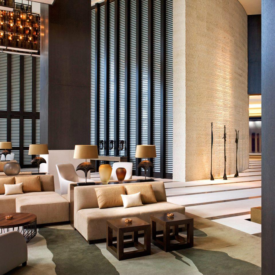 Lobby Lounge Modern Waterfront living room condominium home flooring