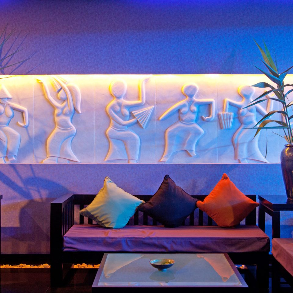 Lobby Lounge Resort color art evening mural restaurant colorful set